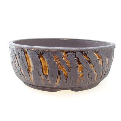 Ceramic bonsai bowl 19 x 19 x 7 cm, color crack yellow - 1