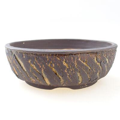 Ceramic bonsai bowl 19 x 19 x 6 cm, color crack yellow - 1