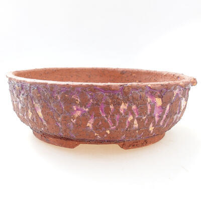 Ceramic bonsai bowl 21.5 x 21.5 x 7 cm, gray-violet color - 1