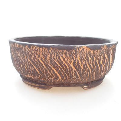 Ceramic bonsai bowl 17.5 x 17.5 x 7 cm, gray-orange color - 1