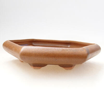 Ceramic bonsai bowl 13 x 15 x 3.5 cm, color brown - 1