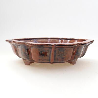 Ceramic bonsai bowl 16 x 15.5 x 5 cm, brown-black color - 1