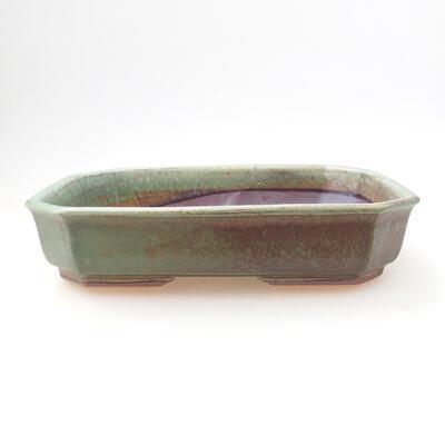 Ceramic bonsai bowl 12.5 x 17.5 x 4 cm, color green - 1