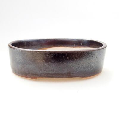 Ceramic bonsai bowl 11.5 x 9 x 3.5 cm, metal color - 1
