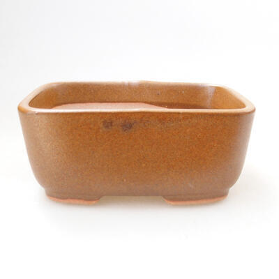 Ceramic bonsai bowl 11.5 x 8.5 x 5 cm, brown color - 1