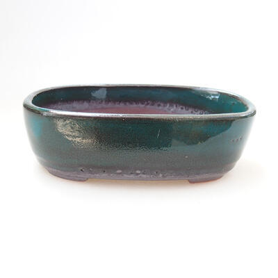 Ceramic bonsai bowl 12 x 7.5 x 4 cm, color green - 1