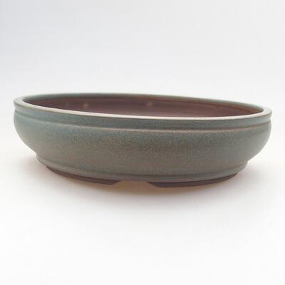 Ceramic bonsai bowl 17.5 x 17.5 x 4.5 cm, color green - 1