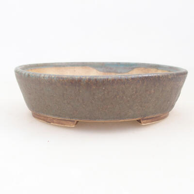 Ceramic bonsai bowl 14 x 13 x 3.5 cm, color brown-green - 1