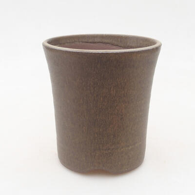 Ceramic bonsai bowl 10 x 10 x 10 cm, color brown - 1