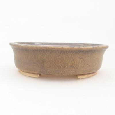 Ceramic bonsai bowl 12 x 11 x 3 cm, brown color - 1