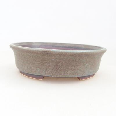 Ceramic bonsai bowl 12 x 11 x 3 cm, brown-blue color - 1