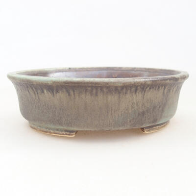 Ceramic bonsai bowl 12 x 11 x 3 cm, color brown-green - 1