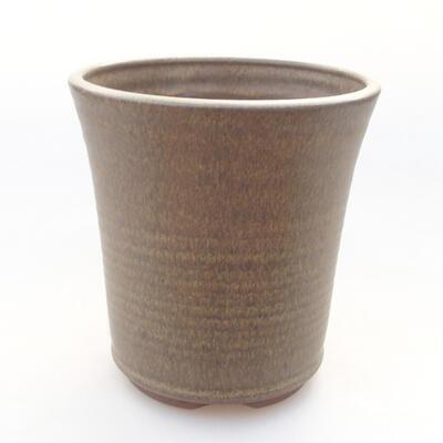 Ceramic bonsai bowl 11.5 x 11.5 x 12 cm, brown color - 1
