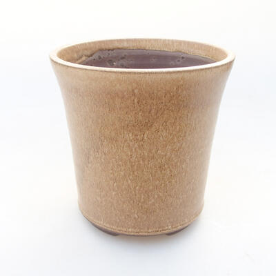 Ceramic bonsai bowl 12.5 x 12.5 x 12.5 cm, beige color - 1