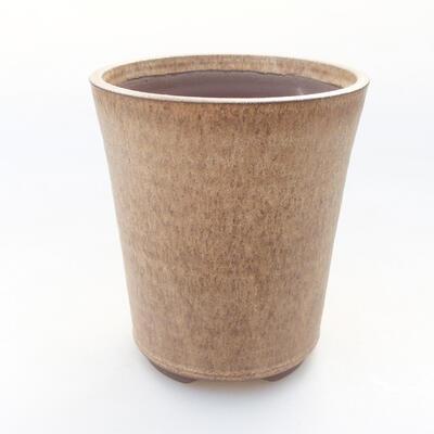 Ceramic bonsai bowl 11 x 11 x 13 cm, beige color - 1