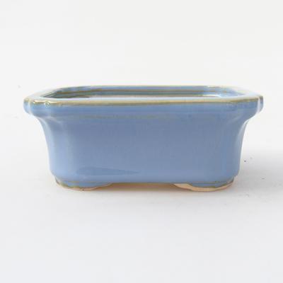 Ceramic bonsai bowl 10.5 x 8.5 x 4 cm, blue color - 1
