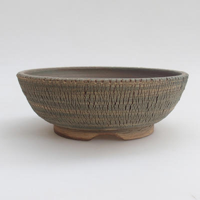 Ceramic bonsai bowl 18 x 18 x 6 cm, color gray - 1