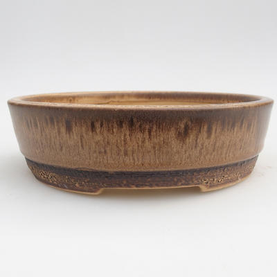 Ceramic bonsai bowl 15,5 x 15,5 x 4,5 cm, color brown - 1
