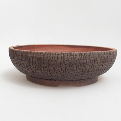 Ceramic bonsai bowl 25 x 25 x 7 cm, brown-green color - 1