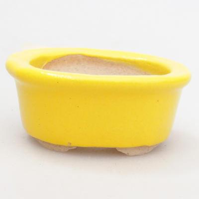 Mini bonsai bowl 4,5 x 4 x 2 cm, yellow color - 1