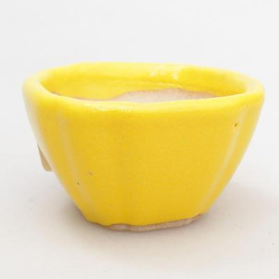 Mini bonsai bowl 4,5 x 4,5 x 2,5 cm, yellow color - 1