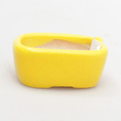 Mini bonsai bowl 4 x 3,5 x 2 cm, yellow color - 1