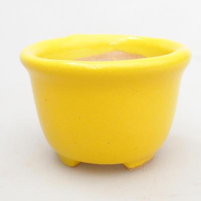Mini bonsai bowl 4 x 4 x 3 cm, yellow color - 1