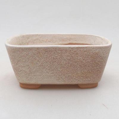 Ceramic bonsai bowl 13 x 10 x 5.5 cm, beige color - 1