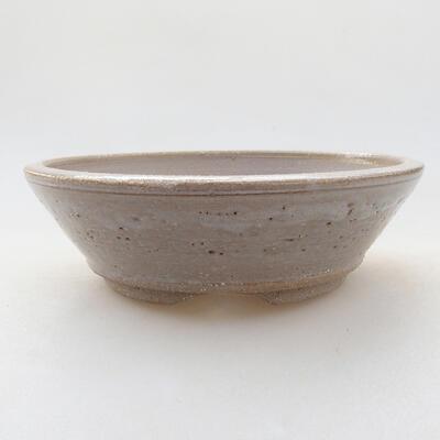 Ceramic bonsai bowl 14 x 14 x 4 cm, beige color - 1