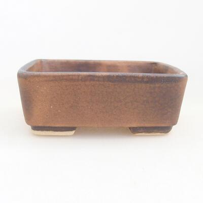 Ceramic bonsai bowl 9.5 x 8 x 3.5 cm, brown color - 1