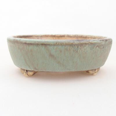 Ceramic bonsai bowl 12 x 9.5 x 3.5 cm, color green - 1