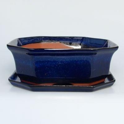 Bonsai bowl tray H14 - bowl 17,5 x 17,5 x 6,5, tray 17,5 x 17,5 x 1,5 - 1