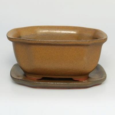 Bonsai bowl tray H32 - bowl 12.5 x 10.5 x 6 cm, tray 12.5 x 10.5 x 1 cm - 1
