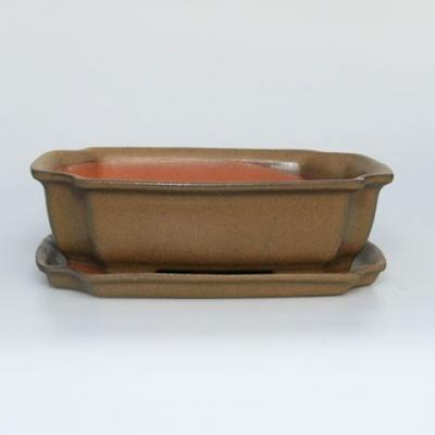Bonsai bowl + saucer H17 - bowl 14.5 x 10.5 x 4.5 cm, saucer 14.5 x 10 x 1 cm - 1