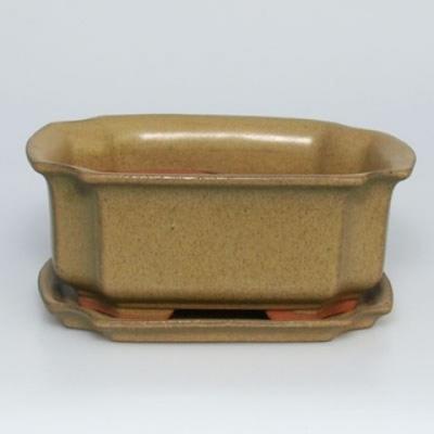 Bonsai bowl + tray H01 - tray 12 x 9 x 5 cm, tray 11,5 x 8,5 x 1 cm - 1