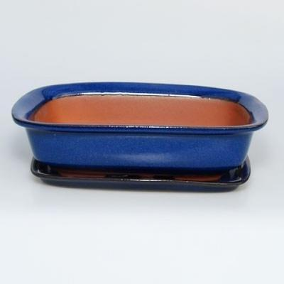 Bonsai bowl + tray H02 - tray 19 x 13,5 x 5 cm, tray 17 x 12 x 1 cm - 1