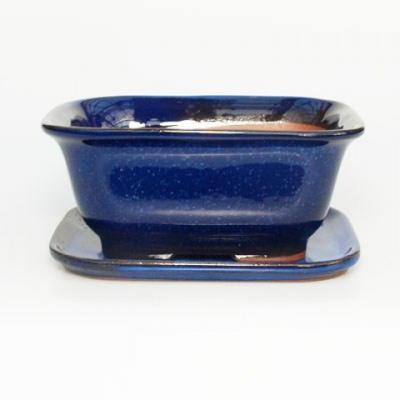 Bonsai bowl + tray H37 - bowl 14 x 12 x 7 cm, tray 14 x 13 x 1 cm - 1