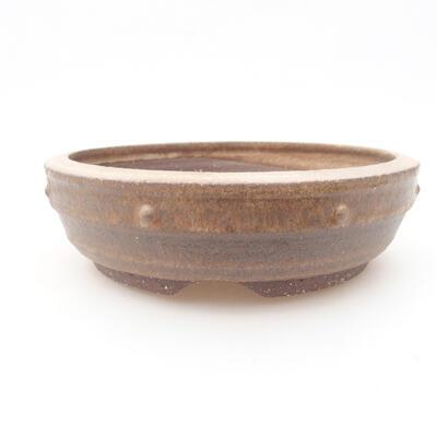 Ceramic bonsai bowl 17.5 x 17.5 x 5 cm, brown color - 1