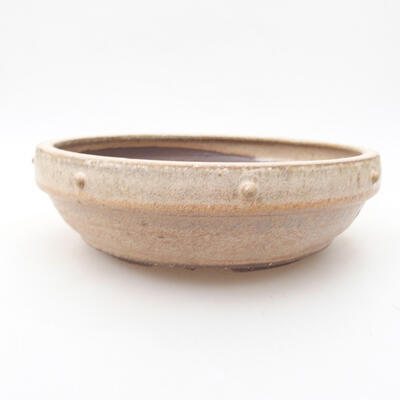 Ceramic bonsai bowl 17.5 x 17.5 x 5.5 cm, beige color - 1