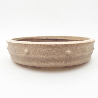 Ceramic bonsai bowl 18 x 18 x 4.5 cm, beige color - 1