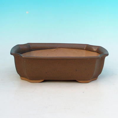Ceramic bonsai bowl H 03 - 16,5 x 11,5 x 5 cm, brown - 16.5 x 11.5 x 5 cm - 1