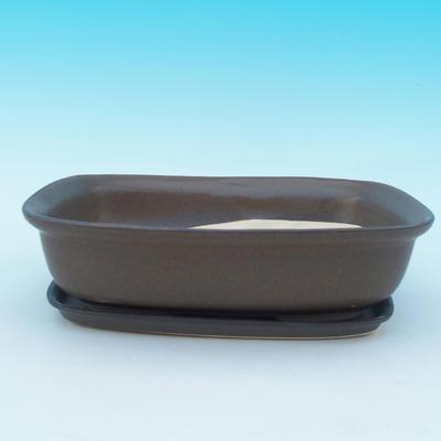 Bonsai bowl tray H10 - bowl 37 x 27 x 10 cm, tray 34 x 23 x 2 cm - 1