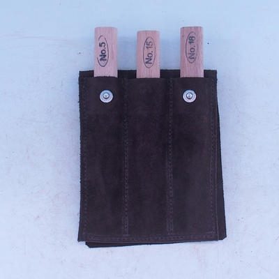 Set of 3-piece chisel in leather case - NO18, NO15, NO5 - 1