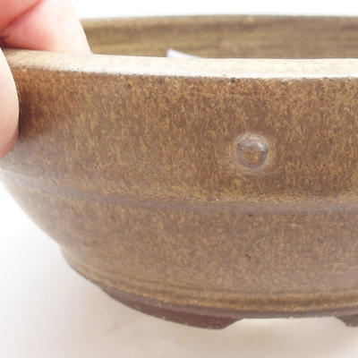 Ceramic bonsai bowl - 20,5 x 20,5 x 6 cm, yellow color - 2