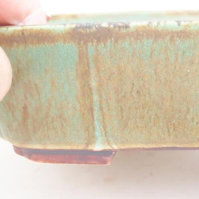 Ceramic bonsai bowl 17.5 x 14.5 x 5 cm, color green - 2