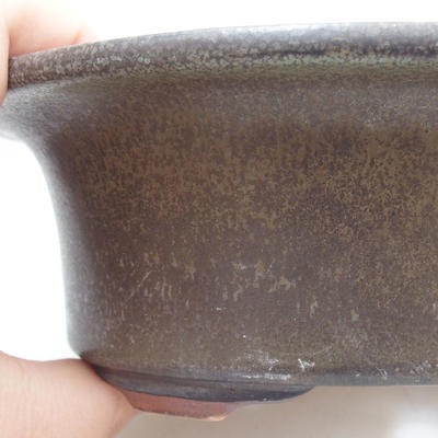 Ceramic bonsai bowl 19 x 15 x 6 cm, color green-brown - 2