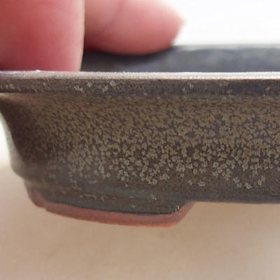 Ceramic bonsai bowl 12 x 10 x 2.5 cm, gray color - 2