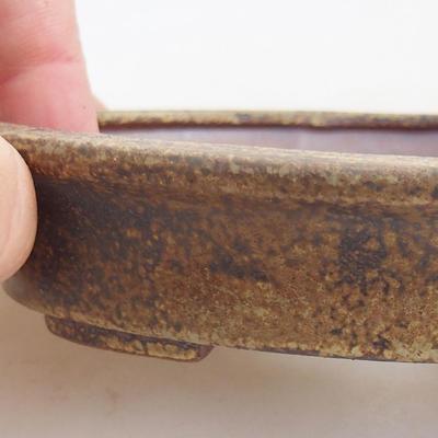 Ceramic bonsai bowl 12 x 10 x 2.5 cm, brown color - 2