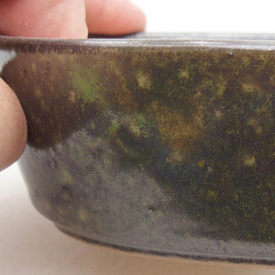Ceramic bonsai bowl 14 x 9.5 x 4 cm, color green - 2