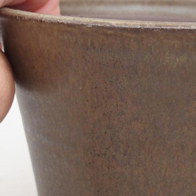 Ceramic bonsai bowl 12.5 x 12.5 x 11 cm, brown color - 2